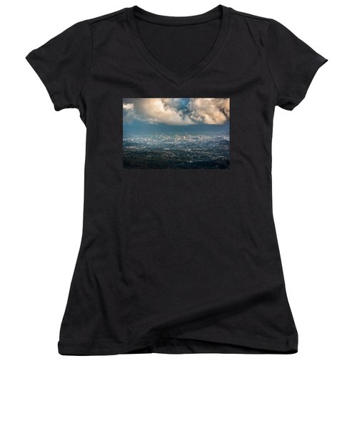 Women's V-Neck T-Shirt (Junior Cut) featuring the photograph Sunrise Over A Cloudy Brisbane by Parker Cunningham