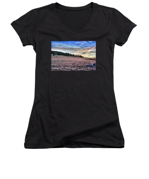Women's V-Neck featuring the photograph Sunrise Over Ft. Apache by Lynn Geoffroy