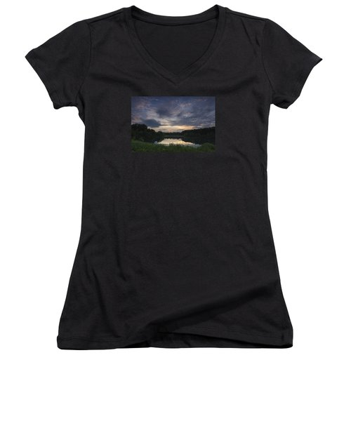 Sunrise Over Indigo Lake Women's V-Neck T-Shirt