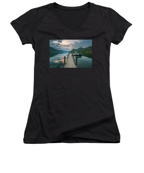 Sunrise Over Lake Rotoroa Women's V-Neck
