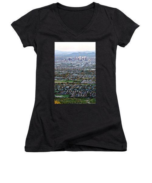 Sunrise Over Phoenix Arizona Women's V-Neck