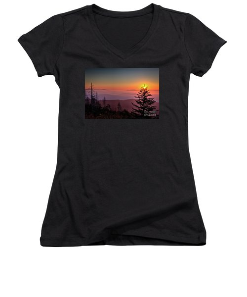 Women's V-Neck T-Shirt (Junior Cut) featuring the photograph Sunrise Over The Smoky's IIi by Douglas Stucky