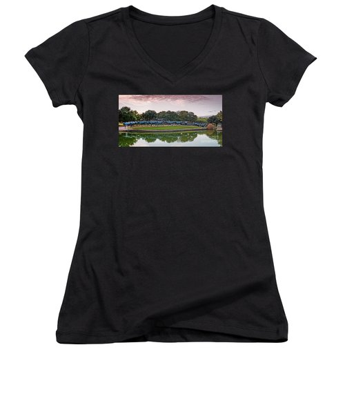 Sunrise Panorama Of Cattle Drive Sculpture At Pioneer Plaza - Downtown Dallas North Texas Women's V-Neck T-Shirt