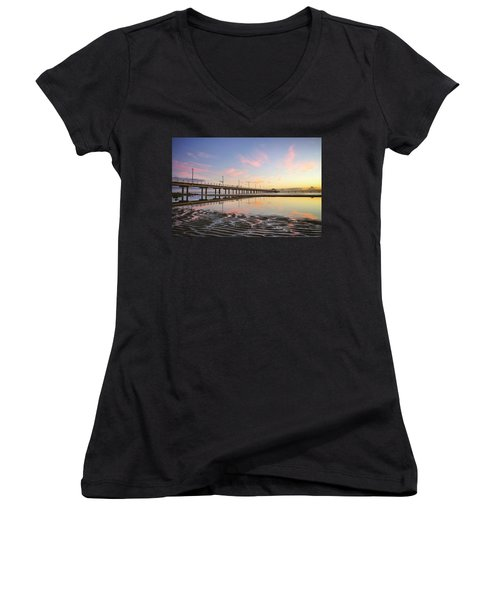 Sunrise Reflections At The Shorncliffe Pier Women's V-Neck