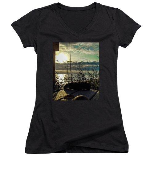 Sunrise Sea Shells Women's V-Neck T-Shirt (Junior Cut) by Josy Cue