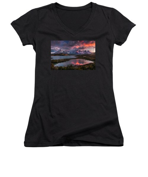 Sunrise Spectacular At Torres Del Paine. Women's V-Neck