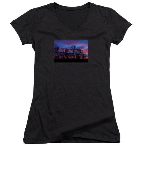 Sunrise Through Barren Trees Women's V-Neck T-Shirt