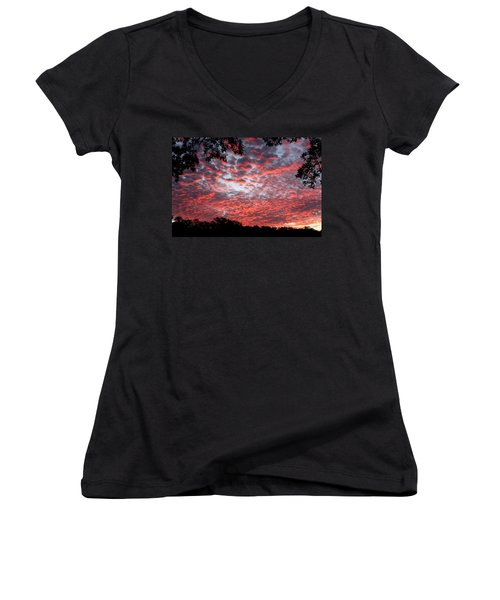 Sunrise Through The Trees Women's V-Neck