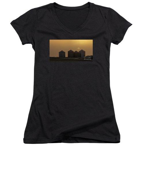 Sunrise Through The Fog Women's V-Neck T-Shirt (Junior Cut) by Brad Allen Fine Art