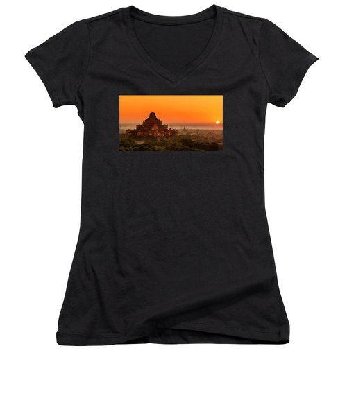 Sunrise View Of Dhammayangyi Temple Women's V-Neck