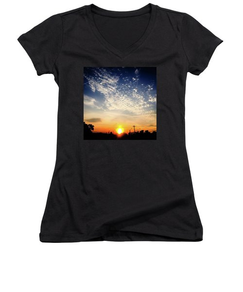 Women's V-Neck T-Shirt (Junior Cut) featuring the photograph Sunset 25 May 16 by Toni Martsoukos