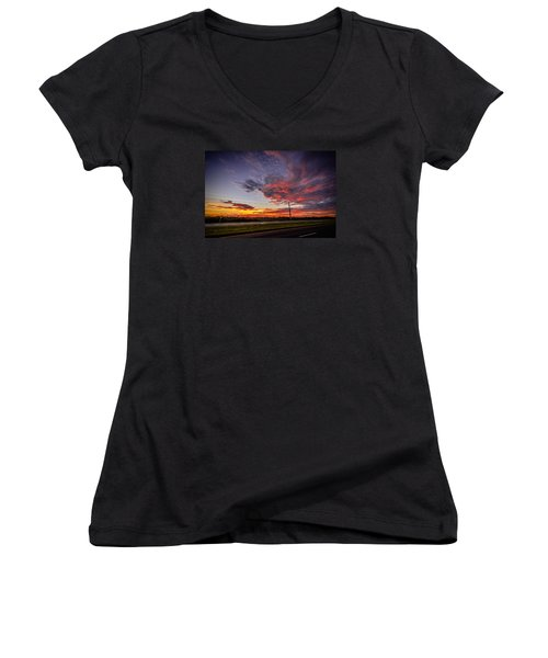 Sunset Along Jd Women's V-Neck T-Shirt