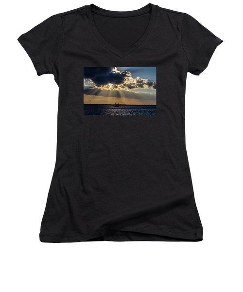 Sunset And A Three Masted Schooner Women's V-Neck T-Shirt (Junior Cut) by Menachem Ganon