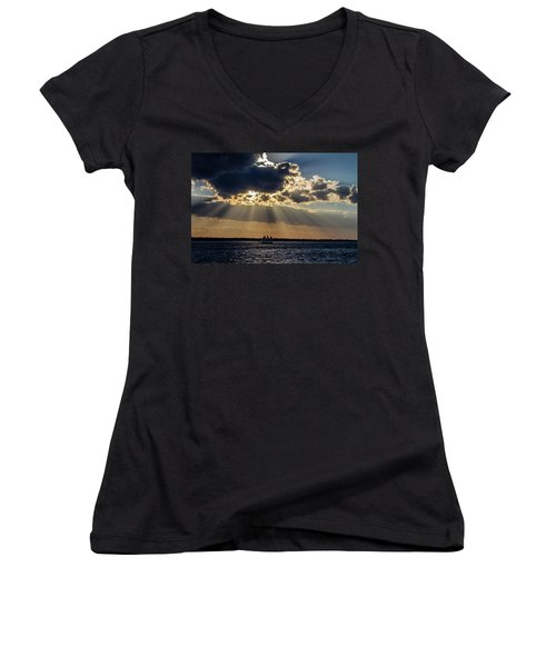 Sunset And A Three Masted Schooner Women's V-Neck T-Shirt