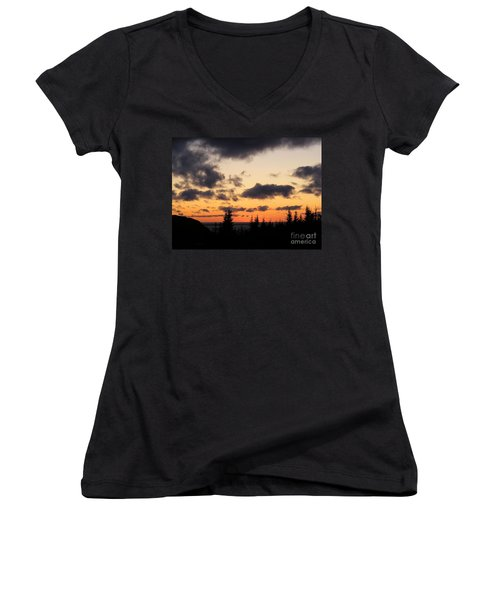 Sunset And Dark Clouds Women's V-Neck T-Shirt (Junior Cut) by Barbara Griffin