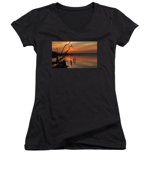 Women's V-Neck featuring the photograph Sunset And Heron by Angel Cher