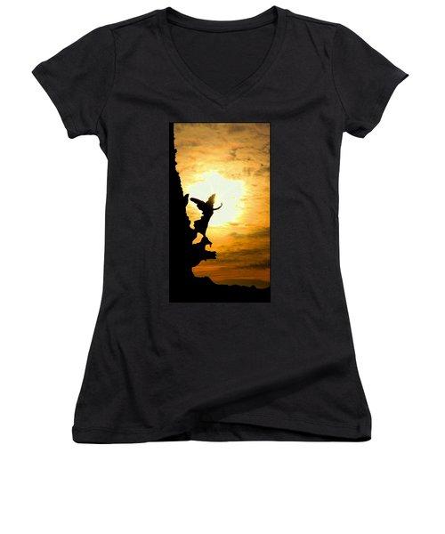 Sunset Angel Women's V-Neck T-Shirt (Junior Cut) by Valentino Visentini