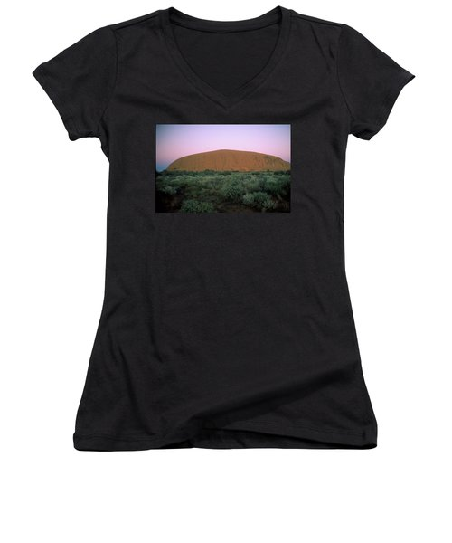 Sunset At Ayre's Rock Women's V-Neck (Athletic Fit)