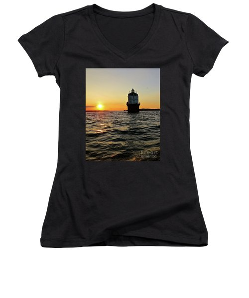 Sunset At Baltimore Light  Women's V-Neck T-Shirt (Junior Cut) by Nancy Patterson