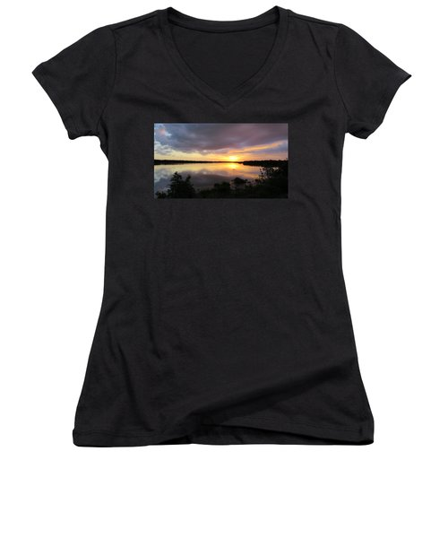 Sunset At Ding Darling Women's V-Neck T-Shirt (Junior Cut) by Melinda Saminski
