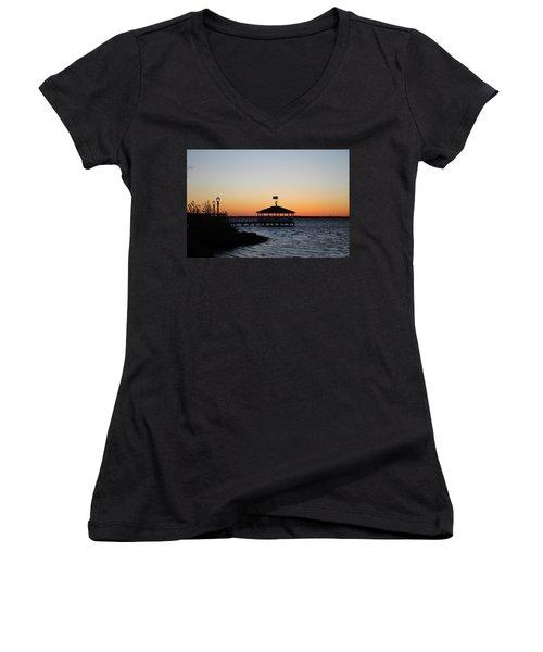 Sunset At Fagers Island Gazebo Women's V-Neck T-Shirt (Junior Cut) by Robert Banach