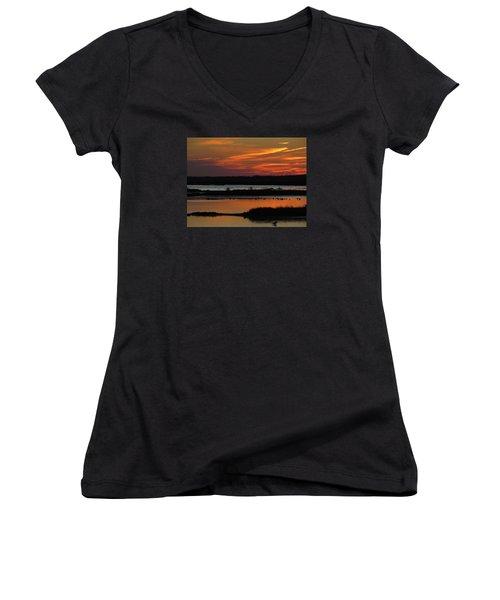 Women's V-Neck T-Shirt (Junior Cut) featuring the photograph Sunset At Forsythe Reserve 2 by Melinda Saminski
