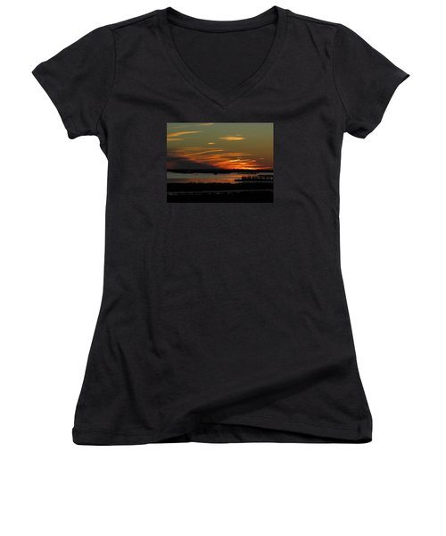 Women's V-Neck T-Shirt (Junior Cut) featuring the photograph Sunset At Forsythe Reserve by Melinda Saminski