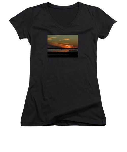 Sunset At Forsythe Reserve Women's V-Neck T-Shirt