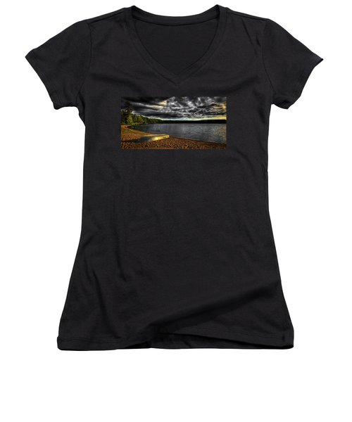 Sunset At Nicks Lake Women's V-Neck T-Shirt (Junior Cut) by David Patterson