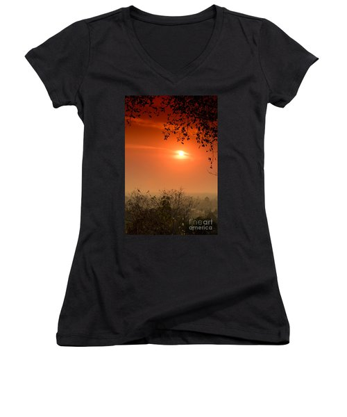 Sunset At Phnom Bakheng Of Angkor Wat Women's V-Neck (Athletic Fit)