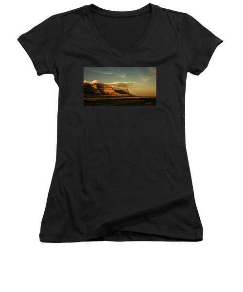 Sunset At Scotts Bluff National Monument Women's V-Neck (Athletic Fit)