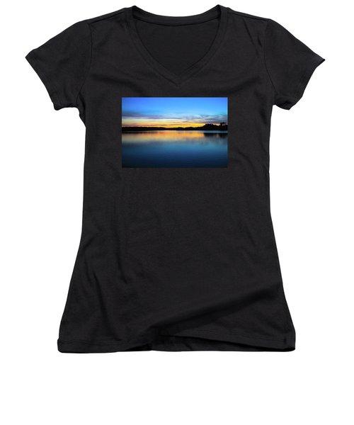 Sunset At Stumpy Lake Virginia Beach Women's V-Neck
