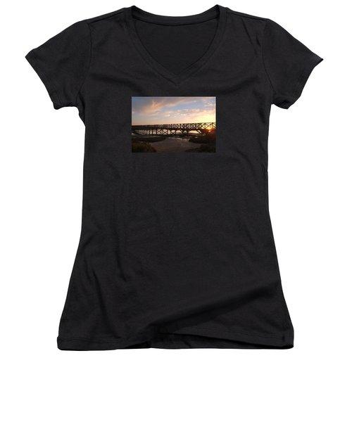 Sunset At The Wooden Bridge Women's V-Neck T-Shirt (Junior Cut) by Angelo DeVal