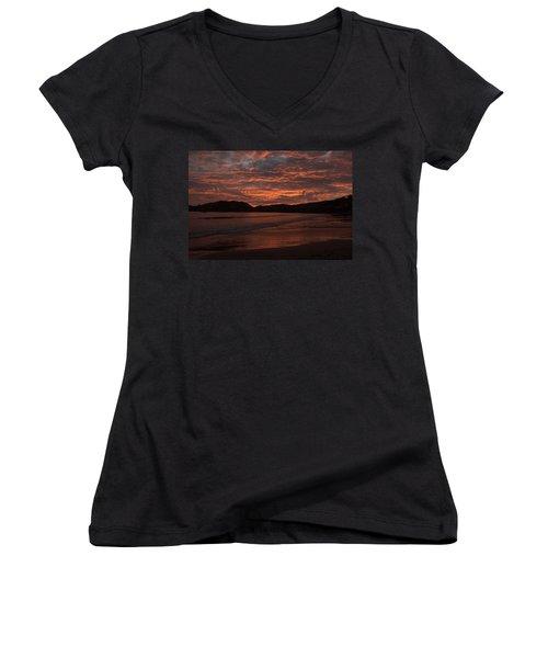 Women's V-Neck T-Shirt (Junior Cut) featuring the photograph Sunset Beach by Jim Walls PhotoArtist