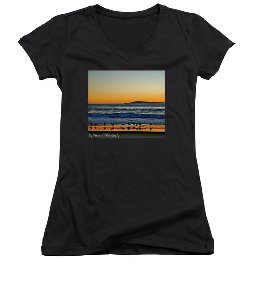 Sunset Bird Reflections Women's V-Neck T-Shirt