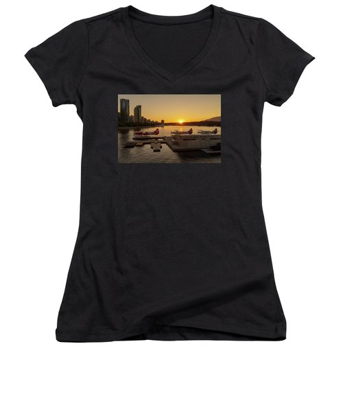 Sunset By The Seaplanes Women's V-Neck