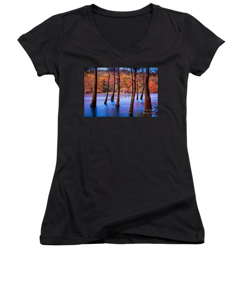 Sunset Cypresses Women's V-Neck (Athletic Fit)