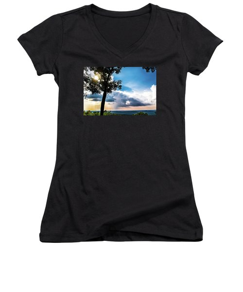Women's V-Neck T-Shirt (Junior Cut) featuring the photograph Sunset Explosion by Shelby Young