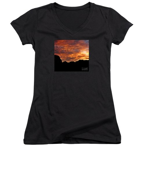 Sunset Fire Women's V-Neck T-Shirt