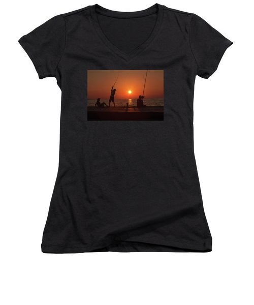 Sunset Fishermenr Women's V-Neck