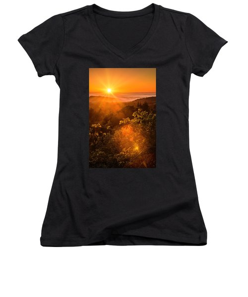 Sunset Fog Over The Pacific #2 Women's V-Neck