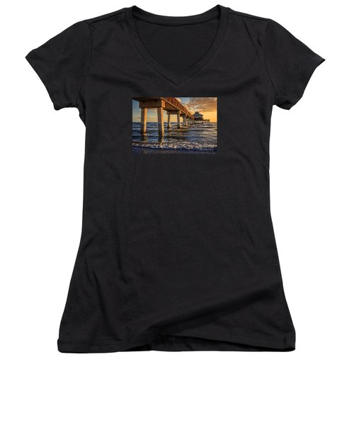 Women's V-Neck T-Shirt featuring the photograph Sunset Fort Myers Beach Fishing Pier by Edward Fielding