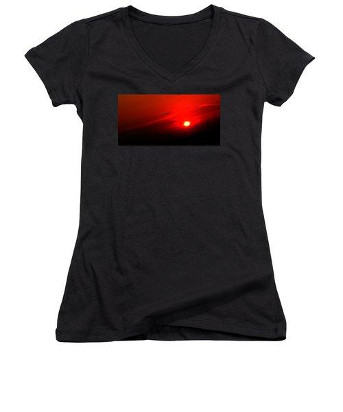 Sunset Geese Leaving Disappearing City - 0814  Women's V-Neck T-Shirt (Junior Cut) by Michael Bessler