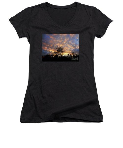 Sunset Glow Women's V-Neck T-Shirt (Junior Cut) by Gem S Visionary