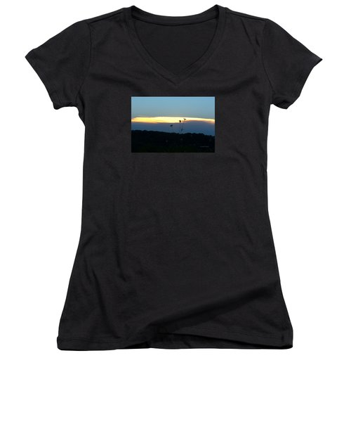 Sunset Gold Stripe Queen Anne Women's V-Neck T-Shirt
