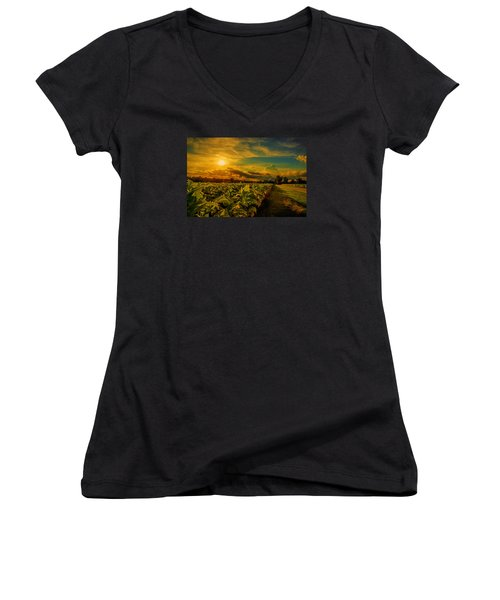 Women's V-Neck T-Shirt (Junior Cut) featuring the photograph Sunset In A North Carolina Tobacco Field  by John Harding