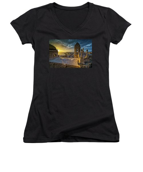 Women's V-Neck T-Shirt featuring the photograph Sunset In Cadiz Cathedral View From Levante Tower Cadiz Spain by Pablo Avanzini
