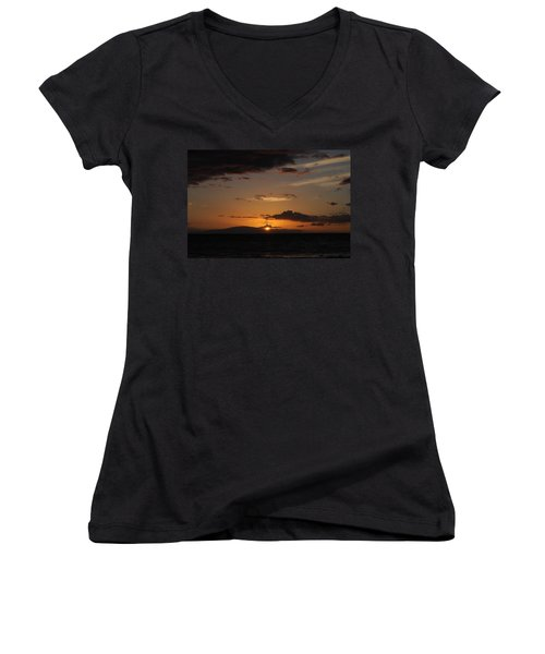 Women's V-Neck T-Shirt (Junior Cut) featuring the photograph Sunset In Maui 2 by Michael Albright
