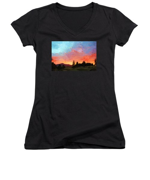 Sunset In Oregon Women's V-Neck (Athletic Fit)