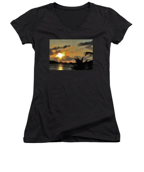 Sunset In Paradise Women's V-Neck T-Shirt (Junior Cut) by Jim Hill